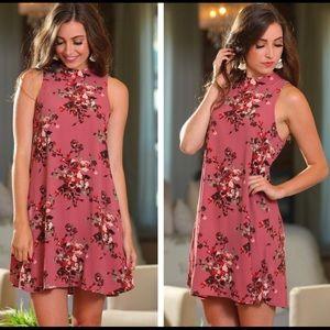 Mauve floral sleeveless dress